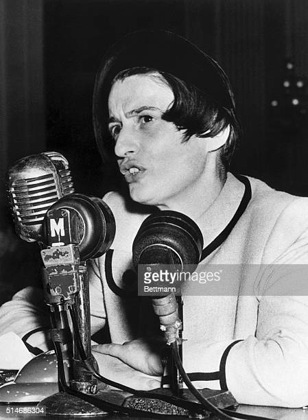 Writer Ayn Rand testifies before the House Un-American Activities Committee on October 20, 1947. She said that on the request of a committee...