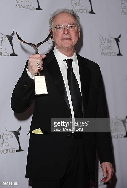 Writer Barry Levinson poses in the press room at the 2010 Writers Guild Awards held at the Hyatt Regency Century Plaza Hotel on February 20 2010 in...