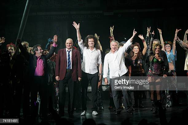 Writer Ben Elton, comedian Al Murray and Queen's Brian May and Roger Taylor appear on stage at the Dominion Theatre as Queen and Ben Elton's We Will...