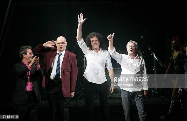 Writer Ben Elton, comedian Al Murray, Queen's Brian May and Roger Taylor appear on stage at the Dominion Theatre as Queen and Ben Elton's We Will...