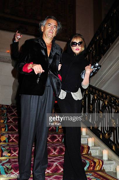 Writer Bernard Henri Levy and actress/singer Arielle Dombasle attend the Eva Herzigova Collection For 123 Launch Party at Hotel Montmorency on April...
