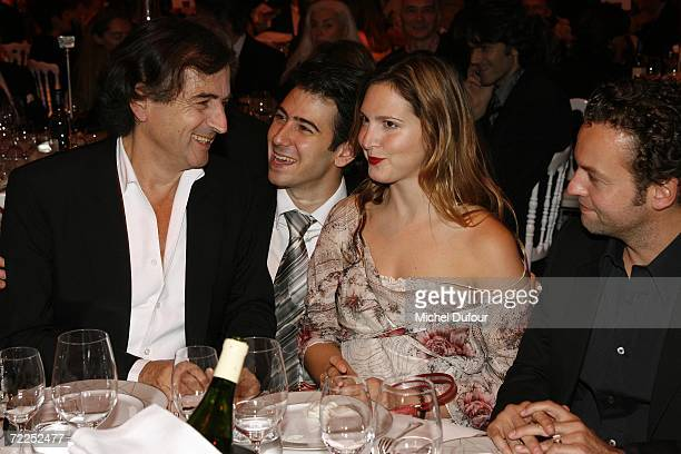Writer Bernard Henri Levy and his children Antonin and Justine attend the Scopus Awards celebration at the Pavillon Gabriel on October 23 2006 in...