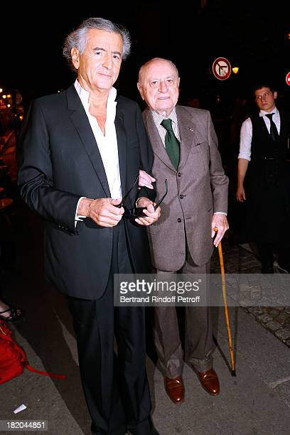 Writer BernardHenri Levy and Pierre Berge attend 'Opium' movie Premiere held at Cinema Saint Germain in Paris on September 27 2013 in Paris France