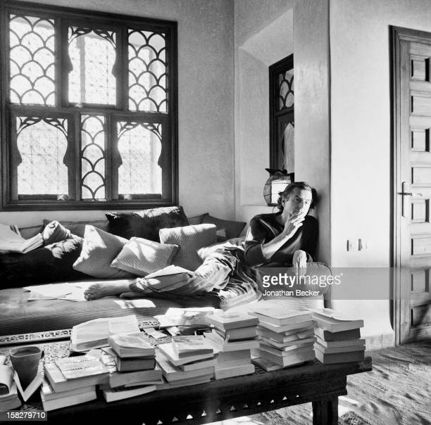Writer BernardHenri Levy is photographed for Vanity Fair Magazine on March 16 2002 in his study in his eighteenth century palace in Marrakech Morocco...