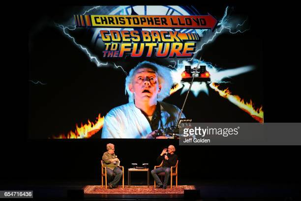 Writer Bob Gale and actor Christopher Lloyd speak to the audience after a screening of 'Back To The Future' at Fred Kavli Theatre on March 17 2017 in...