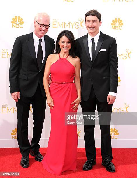 Writer Brad Hall wife/actress Julia LouisDreyfus and their son Charles Hall arrive at the 66th Annual Primetime Emmy Awards at Nokia Theatre LA Live...