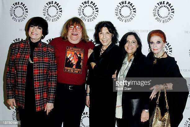 Writer Bruce Vilanch actress Jo Anne Worley host/comedian Lily Thomlin director Dori Berinstein and Carole Cook arrive at The Paley Center For Media...