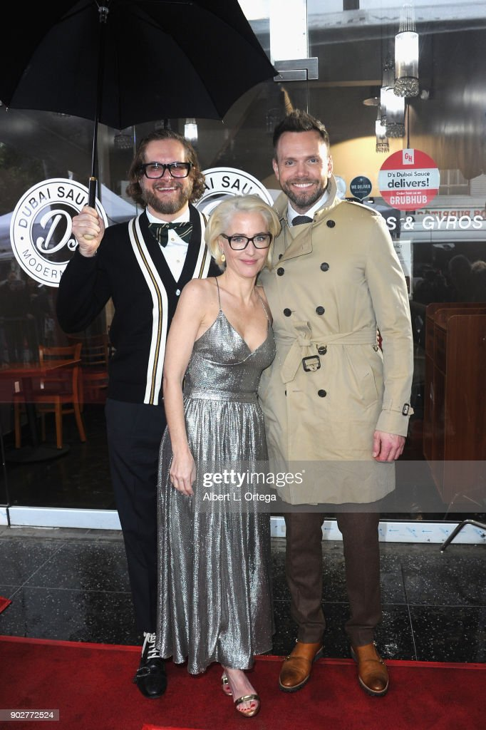 Writer Bryan Fuller, actress Gillian ANderson and actor Joel McHale at her star ceremony on The Hollywood Walk of Fame on January 8, 2018 in Hollywood, California.