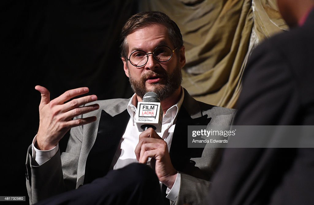 Writer Bryan Fuller (L) and Film Independent at LACMA film curator Elvis Mitchell attend the Film Independent at LACMA 'An Evening With...Hannibal' event at the Bing Theatre at LACMA on July 23, 2015 in Los Angeles, California.