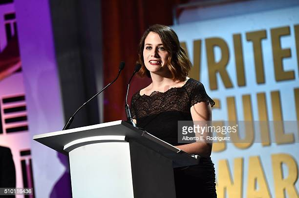 Writer Callie Hersheway accepts the Comedy Series award for 'Veep' onstage during the 2016 Writers Guild Awards at the Hyatt Regency Century Plaza on...