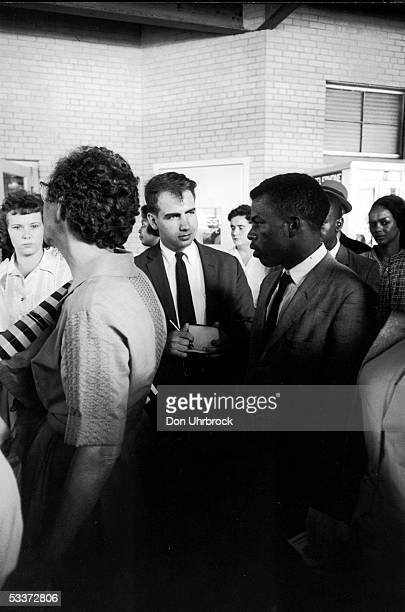 TIME writer Calvin Trillin interviewing participants in the Birmingham Freedom Ride after the arrest of several riders