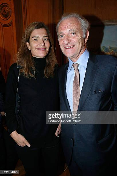 Writer Capucine Motte and Alain Flammarion attend Stephane Bern signs his Book 'Mon Luxembourg' at Residence of the Ambassador of Luxembourg on...