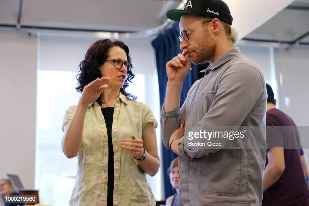 Writer Carson Kreitzer left and composer Matt Gould converse during a rehearsal of 'Lempicka' at the Williamstown Theatre Festival in Williamstown MA...