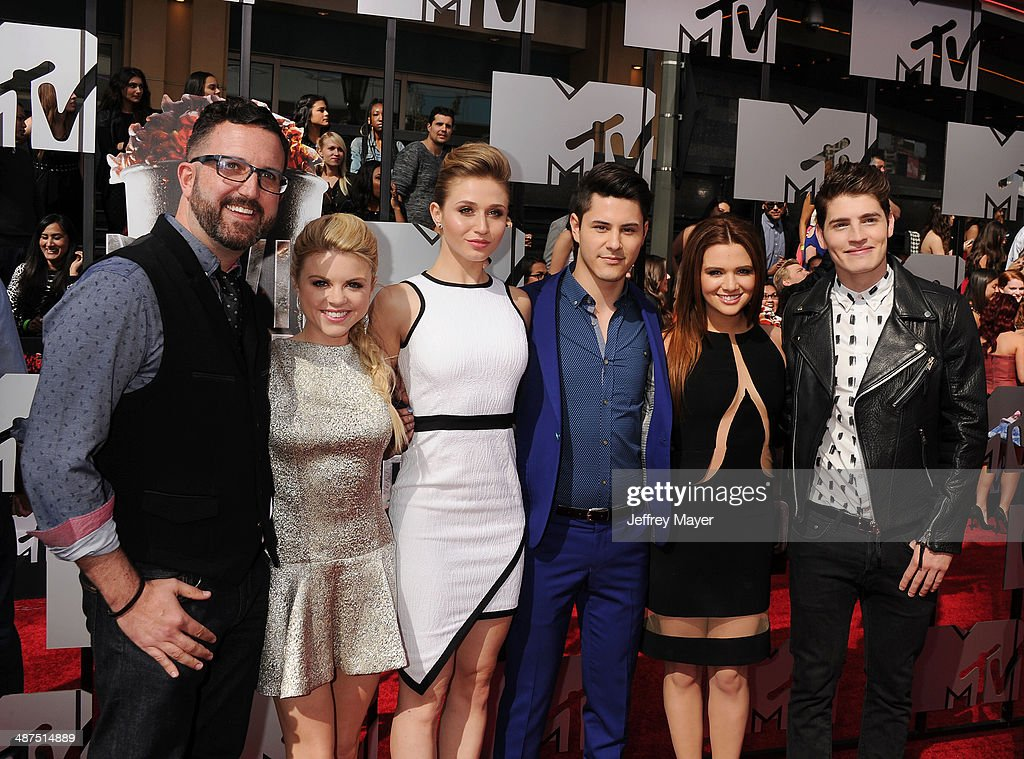 Writer Carter Covington, actors Bailey Buntain, Rita Volk, Michael Willett, Katie Stevens and Gregg Sulkin attend the 2014 MTV Movie Awards at Nokia Theatre L.A. Live on April 13, 2014 in Los Angeles, California.