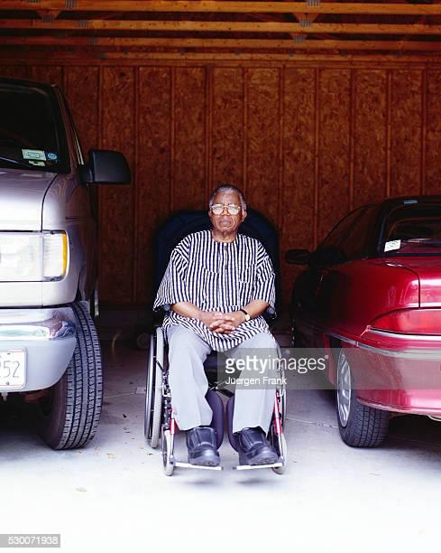 Writer Chinua Achebe in Garage