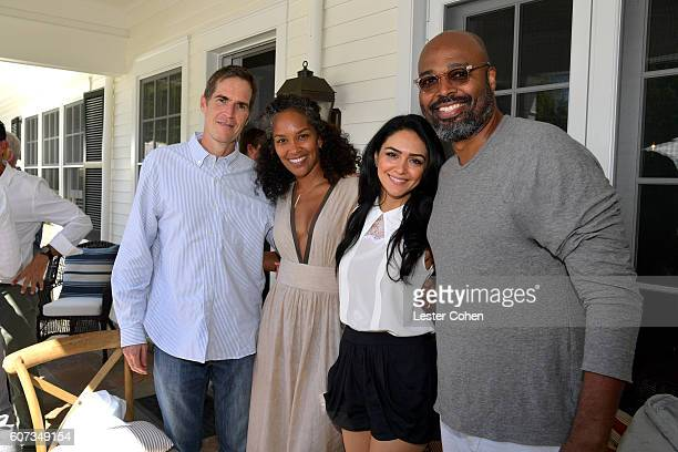 Writer Chip Johannessen writer Mara Brock Akil actress Nazanin Boniadi and director Salim Akil at the ICM Partners PreEmmy Brunch on September 17...