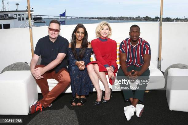 Writer Chris Chibnall actors Mandip Gill Jodie Whittaker and Tosin Cole attend the #IMDboat At San Diego ComicCon 2018 Day Three at The IMDb Yacht on...