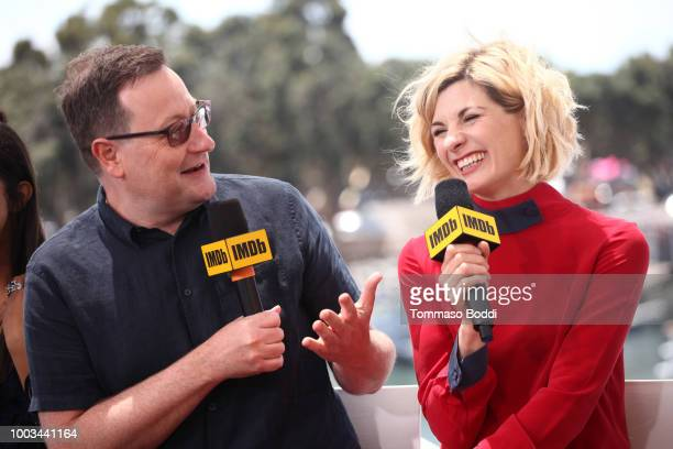 Writer Chris Chibnall and actor Jodie Whittaker attend the #IMDboat At San Diego ComicCon 2018 Day Three at The IMDb Yacht on July 21 2018 in San...
