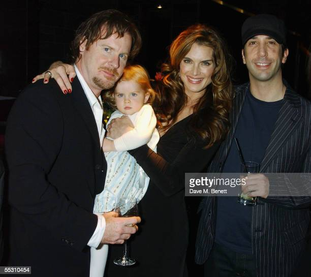 Writer Chris Henchy, daughter Rowan, wife actress Brooke Shields and actor David Schwimmer attend Shields's 40th birthday celebration at the Mint...