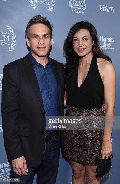 Writer Chris Rossi and actress Anna Khaja attend the 2015 San Diego Film Festival on October 2 2015 in San Diego California