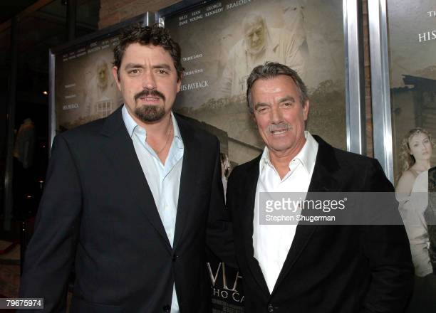 Writer Christian Gudegast and father actor Eric Braeden attend the premiere of Gudegast Braeden's The Man Who Came Back at the Aero Theater on...