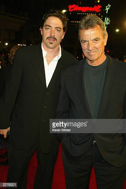 Writer Christian Gudegast and his father actor Eric Braeden arrive at the premiere of A Man Apart at the Chinese Theater on April 1 2003 in Hollywood...