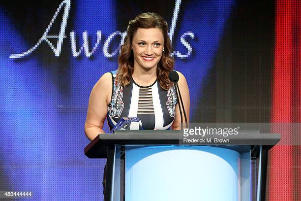 Writer Christine Nangle, on behalf of Amy Schumer, accepts the TCA Award for Individual Achievement in Comedy for 'Inside Amy Schumer' onstage at the...