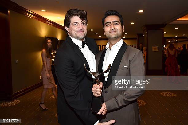 Writer Clay Tarver winner of the Episodic Comedy award for 'Silicon Valley' and actor/comedian Kumail Nanjiani pose during the 2016 Writers Guild...