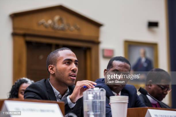 Writer Coleman Hughes testifies during a hearing on slavery reparations held by the House Judiciary Subcommittee on the Constitution, Civil Rights...