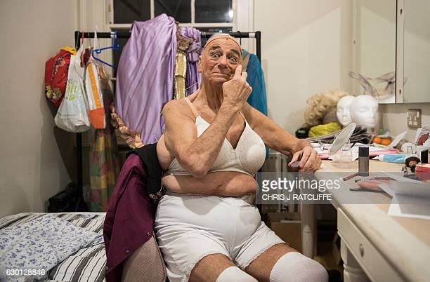 Writer comedian and actor Roy Hudd who plays the character 'Mother Goose' is pictured in his dressing room before a performance of the pantomime...