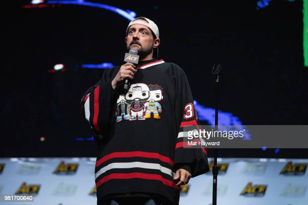 Writer, comedian, podcaster, and film director Kevin Smith speaks on stage during ACE Comic Con on June 22, 2018 at WaMu Theatre in Seattle,...