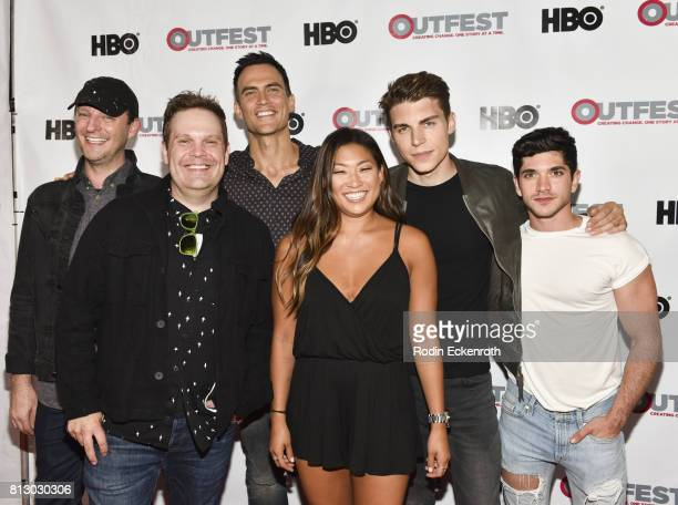 Writer Cory Krueckeberg, Director Tom Gustafson, actors Cheyenne Jackson, Jenna Ushkowitz, Nolan Gerard Funk, and Al Calderon attend the 2017 Outfest...