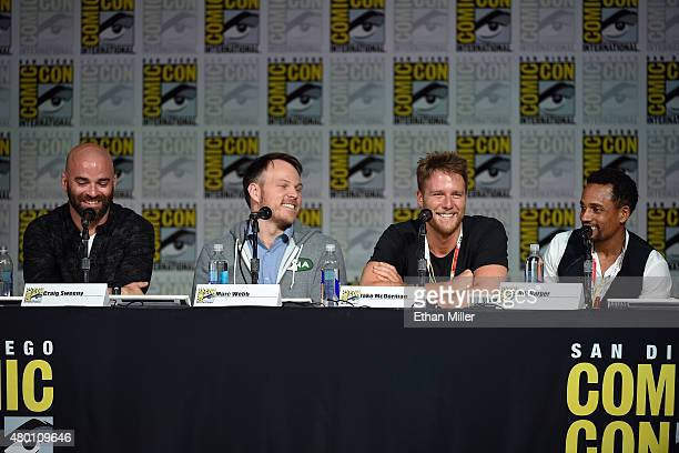Writer Craig Sweeny director Marc Webb and actors Jake McDorman and Hill Harper attend CBS TV Studios' panel for Limitless during ComicCon...