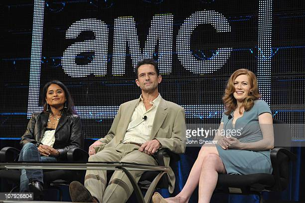 Writer/ creator/ producer Veena Sud actor Billy Campbell and actress Mireille Enos speak on The Killing AMC TCA Panel at the Langham Hotel on January...