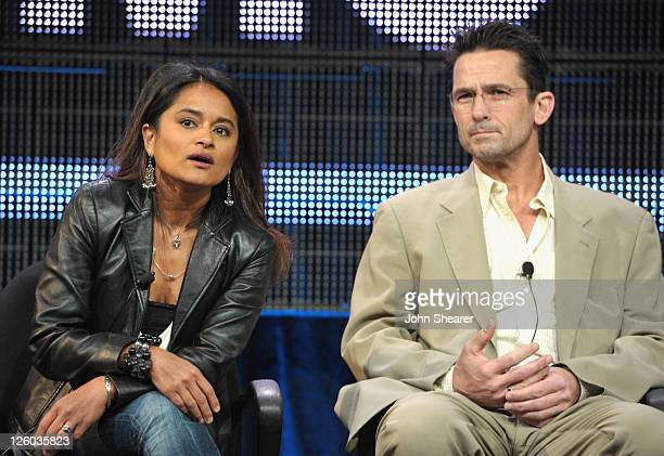 Writer/ creator/ producer Veena Sud and actor Billy Campbell speak on The Killing AMC TCA Panel at the Langham Hotel on January 7 2011 in Pasadena...