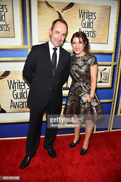 Writer Cristine Chambers and guest attend the 2015 Writers Guild Awards L.A. Ceremony at the Hyatt Regency Century Plaza on February 14, 2015 in...