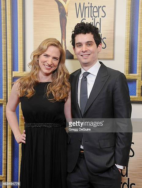 Writer Damien Chazelle and Helen Estabrook arrive at the 2015 Writers Guild Awards LA Ceremony at the Hyatt Regency Century Plaza on February 14 2015...
