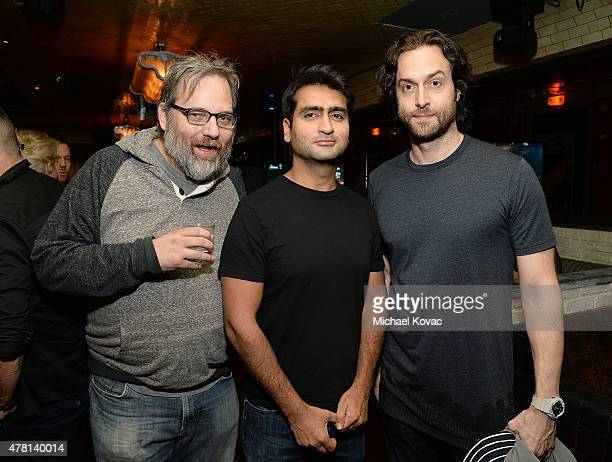 Writer Dan Harmon actor Kumail Nanjiani and comedian Chris D'Elia attend the Batman Arkham Knight VIP Launch at The Line Hotel on June 22 2015 in Los...