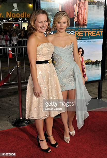 Writer Dana Fox and actress Kristen Bell arrive at the Los Angeles premiere of Couples Retreat held the Mann's Village Theatre on October 5 2009 in...