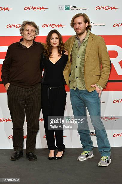 Writer Daniel Pennac actress Melanie Bernier and Director Nicolas Bary attends the 'Au Bonheur Des Ogres' Photocall during the 8th Rome Film Festival...