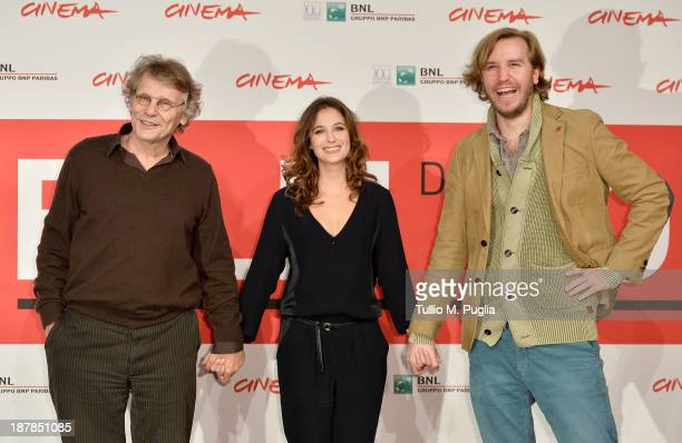 Writer Daniel Pennac Melanie Bernier and Director Nicolas Bary attends the 'Au Bonheur Des Ogres' Photocall during the 8th Rome Film Festival at the...