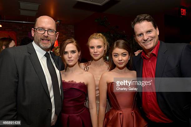 Writer Daniel Waters actresses Zoey Deutch Lucy Fry Sarah Hyland and director Mark Waters attend The Weinstein Company's premiere of 'Vampire...