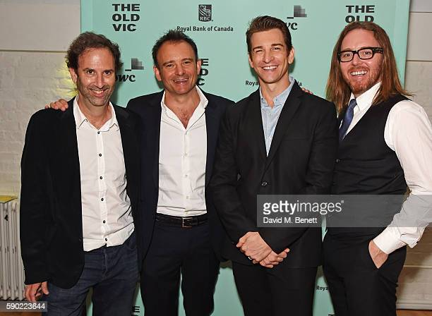 Writer Danny Rubin director Matthew Warchus cast member Andy Karl and composer Tim Minchin attend the press night after party for Groundhog Day at...