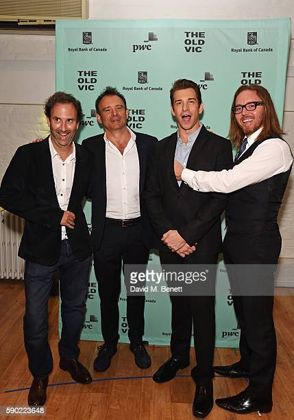 "Writer Danny Rubin, director Matthew Warchus, cast member Andy Karl and composer Tim Minchin attend the press night after party for ""Groundhog Day""..."