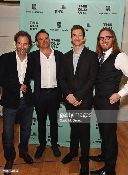 """Writer Danny Rubin, director Matthew Warchus, cast member Andy Karl and composer Tim Minchin attend the press night after party for """"Groundhog Day""""..."""