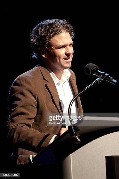 Writer Dave Eggers speaks onstage at The Judd Apatow And Jon Brion Comedy And Music Hour To Benefit 826LA at The Eli and Edythe Broad Stage on June...
