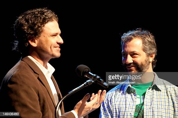Writer Dave Eggers speaks with director Judd Apatow onstage at The Judd Apatow And Jon Brion Comedy And Music Hour To Benefit 826LA at The Eli and...
