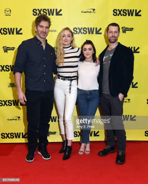Writer David Benioff actors Sophie Turner Maisie Williams and writer DB Weiss attend 'Featured Session Game of Thrones' during 2017 SXSW Conference...