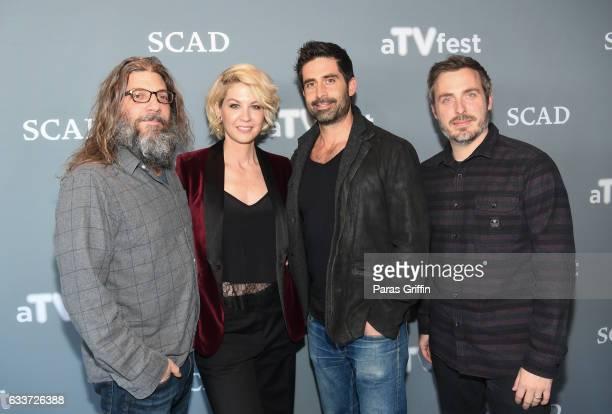 Writer David Guarascio actress Jenna Elfman actor Stephen Schneider and Cocreator/executive producer Patrick Osborne attends Imaginary Mary press...