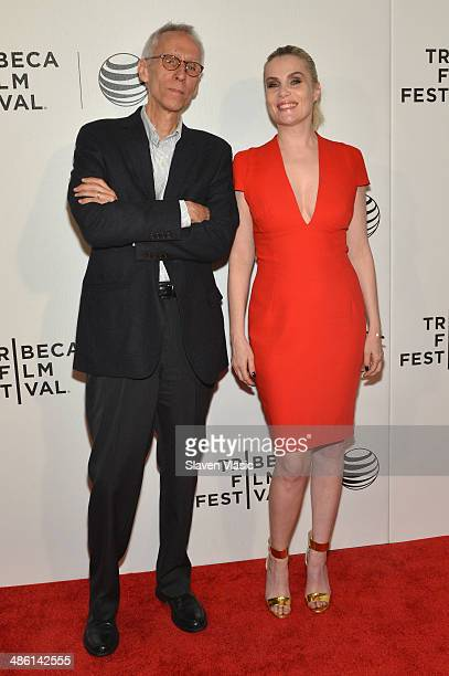 Writer David Ives and actress Emmanuelle Seigner attend the Venus in Fur Premiere during the 2014 Tribeca Film Festival at BMCC Tribeca PAC on April...
